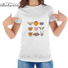 Babaseal Vintage T Shirt Cute Animals With Funny Accessories Cartoon Zoo Set Of Hand Drawn Rock
