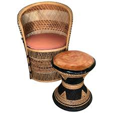 Charming Woven Wicker Seats Counter Stools With Rush Lounge Chair ...
