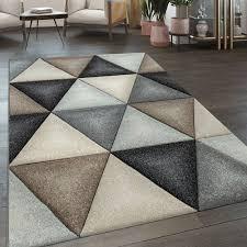 kurzflor wohnzimmer teppich rauten geometrisches muster pastell blau grau rosa
