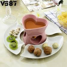 coeur de en pot des amants de coeur de fondue au chocolat en céramique ensemble