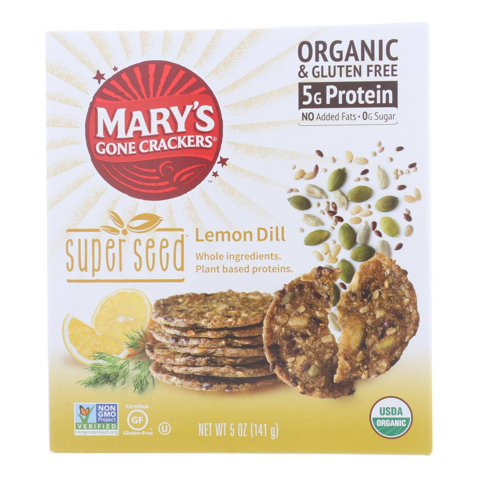Mary's Gone Crackers Super Seed Lemon Dill Crackers, 5 oz