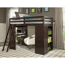 dark wood full size loft bed with desk and built in storage