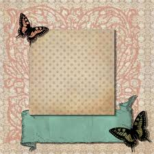 Free Digital Scrapbook Layout Page Background Butterfly Vintage Design