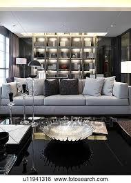 wohnzimmer mit moderne möbel und wand bücherregal stock