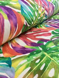 Material For Curtains And Upholstery by Palm Tropical Leaves Cotton Fabric Material Green Jungle Leaf