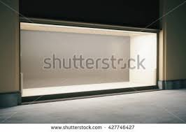 Side View Of Shop Exterior With Large Empty Showcase At Night Mock Up 3D
