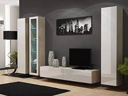 jadella wohnwand anbau wand fernsehschrank hängeschrank regal hochglanz matt wohnzimmer farbe sonoma eiche weiß
