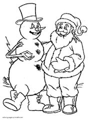 Printable Coloring Pages Snowman And Santa