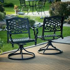 Outdoor Chairs Set Of 2 Black Cast Aluminum Patio Dining Swivel Arm Chair  New