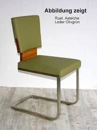 freischwinger massiv 47x87x56 lederpolster grün casade mobila
