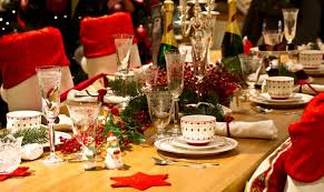 Traditional Christmas Dining With Greens And Reds