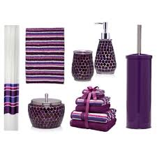 Crackle Glass Bathroom Set by Create The Luxury Impression Through Purple Bathroom Accessories