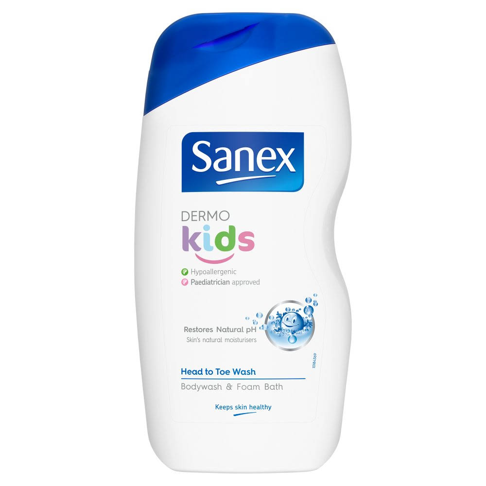 Sanex Dermo Kids Head to Toe Wash Bodywash and Foam Bath - 500ml