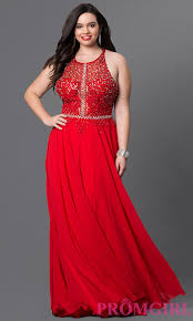 red plus size long prom dress with lace promgirl