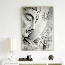 100 Modern Zen Living Room 1 Piece Buddha Canvas Painting Black And White Portrait