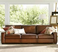 turner square arm leather sofa pottery barn