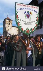 A Confraria Or Brotherhood In The Basque Village Of Espelette France Promotes Pimentoes During Annual Pimento Fair
