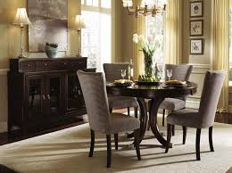 Use Classic Console Table Inside Tiny Dining Room With Dark Small Tables And Grey Chairs