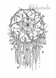 Dream Catcher Botanical Wildflower Adult Coloring By Kilykostudio
