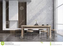 Concrete Dining Room Interior Fireplace