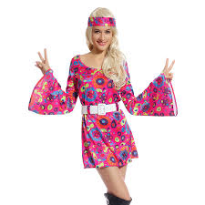 Amazon Retro Flower Go Dress Groovy Hippie Girl Fancy 60s 70s Hippy Costume Clothing