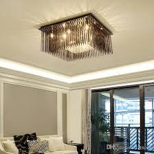 großhandel moderne kristalldeckenleuchter lichter bündig schwarze kristall quadrat kronleuchter beleuchtung led decke für wohnzimmer schlafzimmer