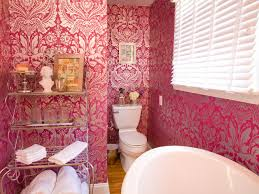 Small Pink French Country Bathroom With Decorative Wallpaper