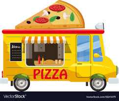 Pizza Van Mobile Snack Icon Cartoon Style Vector Image
