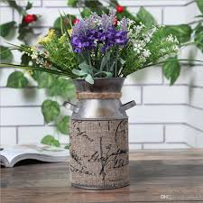 Elegant French Style Country Rustic Primitive Jug Vase Milk Can With Tied And Linen Decoration Perfect For Wedding Party Flower Vases Cheap