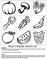 Fruit And Veggie Match Coloring Page