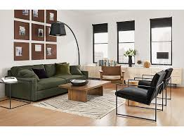 Linger Sofa In Flint With Novato Chairs