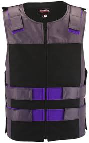 leather u0026 cordura combo zippered tactical vest purple black