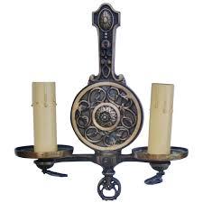 pair antique wall sconces ls bronze arts crafts nouveau light