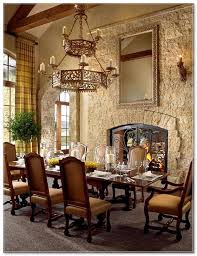 Rustic Dining Room Tuscan Decor Stone Wall Fireplace Solid Wood Furniture