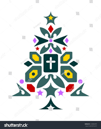 Geometric Christmas Tree With Cross And Stars