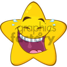 Royalty Free RF Clipart Illustration Happy Yellow Star Cartoon Emoji Face Character With Laughing Expression Vector