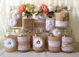 Country And Rustic Wedding Party Decor With Mason Jar
