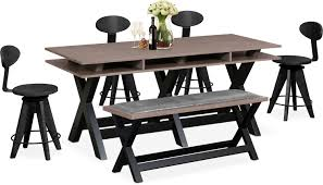 Tech Counter Height Dining Station 4 Drafting Stools And Bench