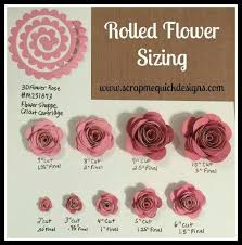 Flower Tutorial Rolled Paper Sizing Chart Cricut Flowers