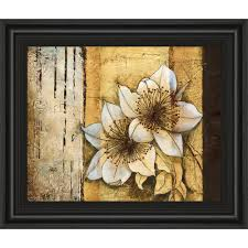 100 Flannel Flower Glass Classy Art 22 In X 26 In Exotic On Gold I By Patty Q Framed