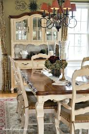 French Dining Room Sets Dark Tabletop With Cream Base And Chairs Fabric Seat Table