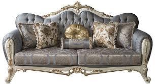 casa padrino luxus barock wohnzimmer sofa mit glitzersteinen und dekorativen kissen blau weiß gold 220 x 85 x h 110 cm edle wohnzimmer möbel im