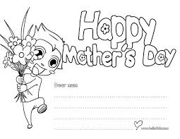Happy Mothers Day Greeting Card Coloring Page