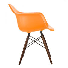 Eames Style DAW Molded Orange Plastic Dining Armchair With Dark ... Eames Plastic Armchair Daw 3d Cgtrader Replica Chair Ding Chairs Nick Scali Online Style Dark Gray With Wood Eiffel Charles Ray Office Upholstered Grey Cult Uk Armchair Model White And Dowel Light Buy The Vitra Utility Dowel Kids Vetrohome Modern Fniture