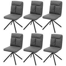6x esszimmerstuhl küchenstuhl stuhl drehbar auto position textil stoff grau swisshandel24 wir verschönern ihr zuhause