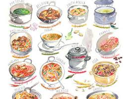 Food around the world poster Kitchen art Watercolor painting Types of food art