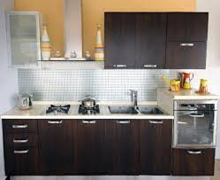 Ideas To Small White Themed Remodel A Kitchen Design With Elegant Dark Brown Wood Base Cabinet That Have Marble Countertop And Minimalist Wall