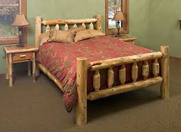 Amish Rustic Log Bed From Dutchcrafters Furniture Inside Queen Frame Ideas