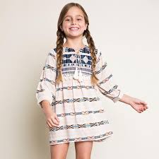 Girls Dress In Bohemian Style With Patchwork Vestidos And Tassels String For 7 13T