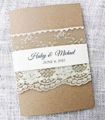 Rustic Wedding Invitation Lace Pocket Set Kraft Invitations Modern